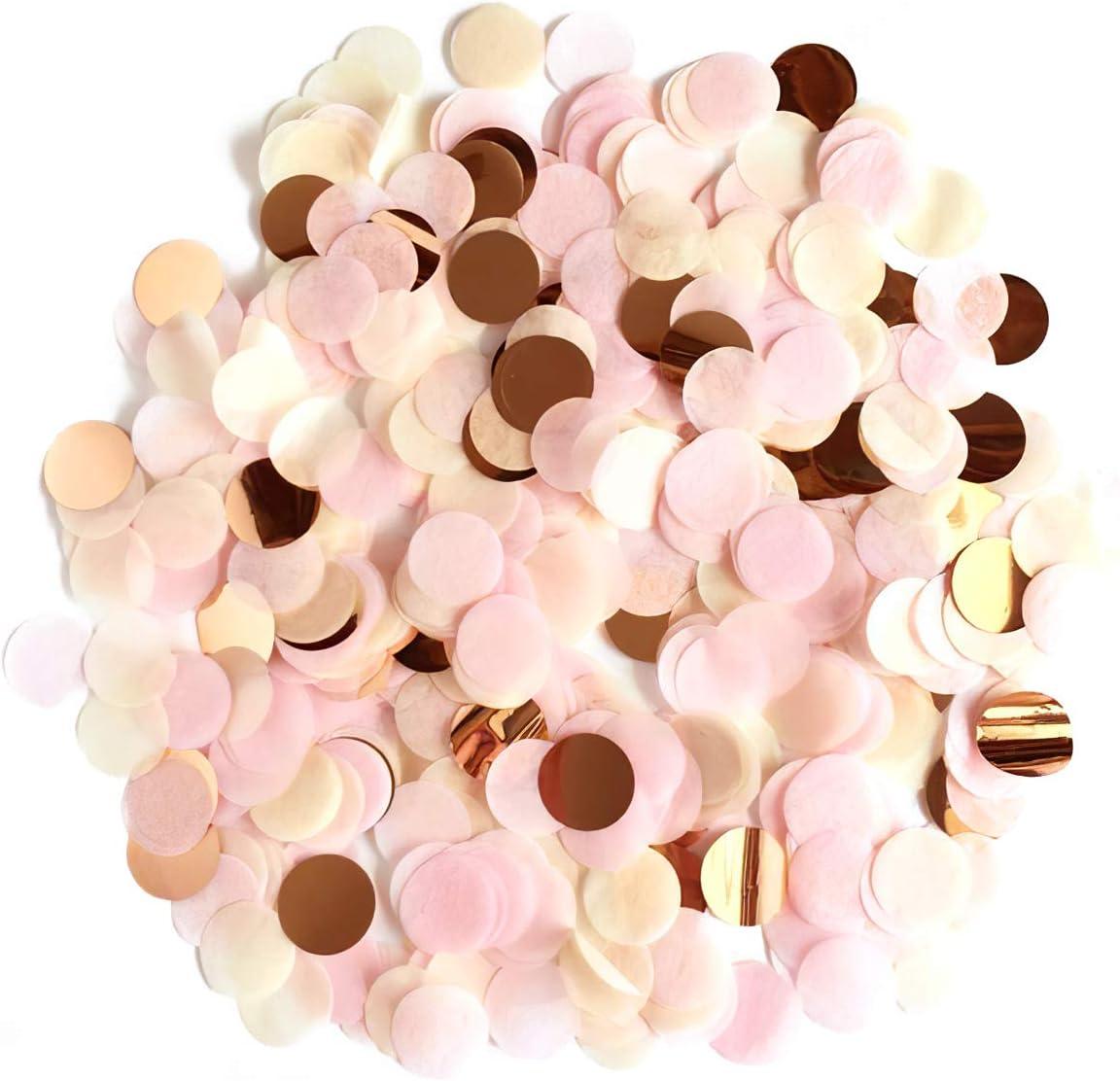 XCOZU 1500 Piezas Confeti Oro Rosa, 1cm Redondos Confeti para Bodas, San Valentín, Confeti de Mesa, Cumpleaños, Fiestas, Confeti para Globo Decoración, 30g