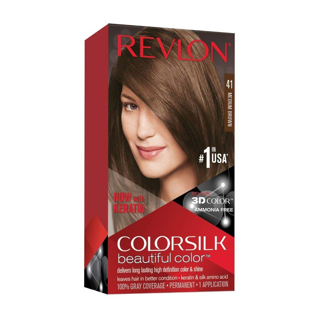Revlon Colorsilk Beautiful Color, Permanent Hair Dye with Keratin, 100% Gray Coverage, Ammonia Free, 41 Medium Brown : Chemical Hair Dyes : Beauty