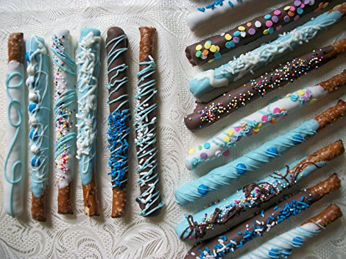 Chocolate Covered made to order Pretzel Rods BLUE colored Theme 16 - Rod Candy Chocolate