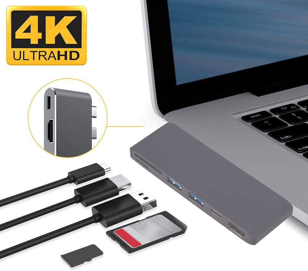 Silver Shentesel USB 3.0 HUB Type-C to 4K HDMI Charging SD Card Reader Adapter for MacBook Pro