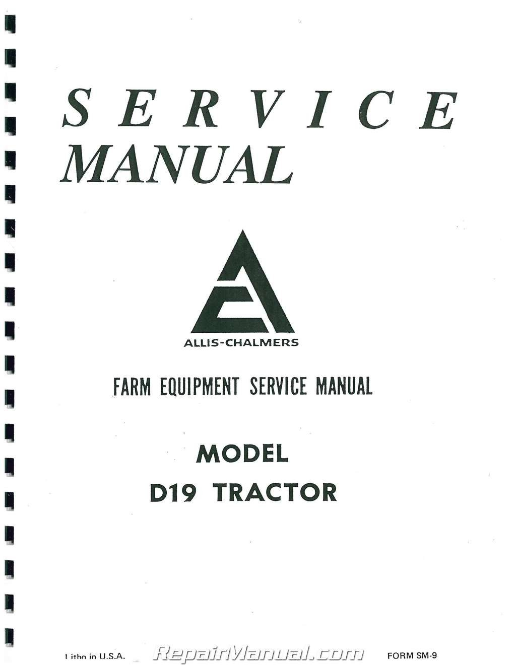 Allis Chalmers D 19 Wiring Diagram Trusted Schematics 200 Ac S D19 Service Manual Manufacturer Amazon Com 17 Schematic