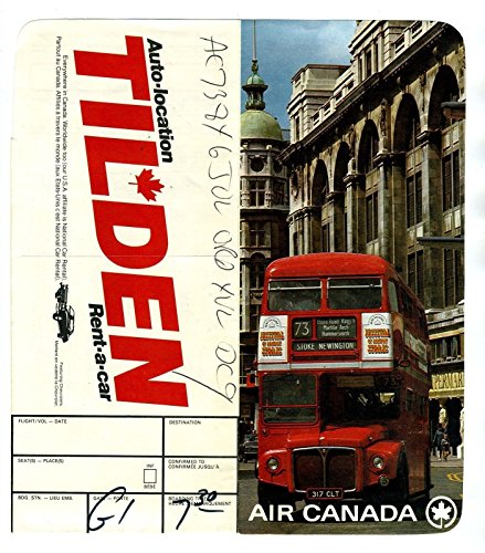 Air Canada Ticket Jacket & Boarding Pass Double Decker Bus 1974