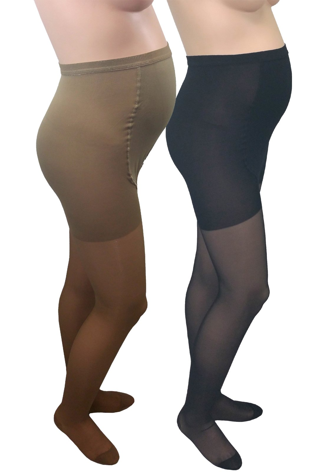 GABRIALLA Maternity Graduated Compression Pantyhose 2 Pack (20-22 mmHg) H-260: Medium Beige/Black