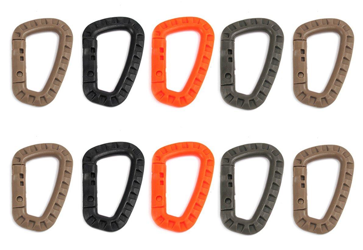 ZENDY El resorte plástico PVC-bloqueo en forma de D PVC bloqueo clave llavero mosquetón gancho de soporte para el hogar, RV, camping, pesca, senderismo, viajar y llavero, colores variados (Paquete10)