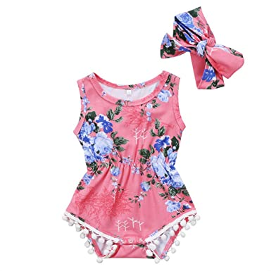 0cd483ace4e Amazon.com  Infant Baby Girl Floral Pompom Tassel Romper Bodysuit Sleeveless  Sunsuit Outfit with Headband Summer Clothing  Clothing
