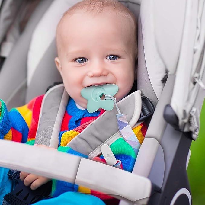 Cadena Chupete para Bebé Chupetero Mordedor de Silicona Soother Cadena de chupete Cuentas masticables Chupeteros de Colores Diferentes Pack 4(azul)