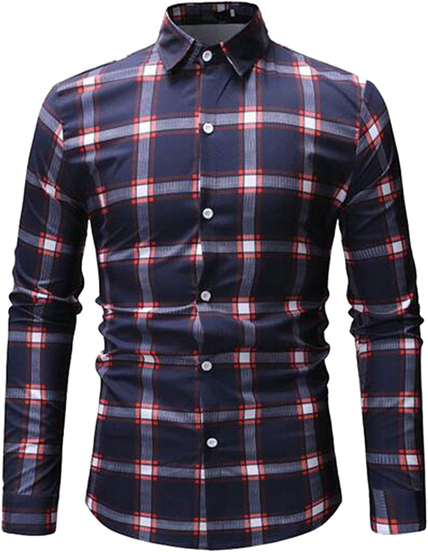 ARTFFEL Men Long Sleeve Plaid Casual Business Button Up Dress Shirts