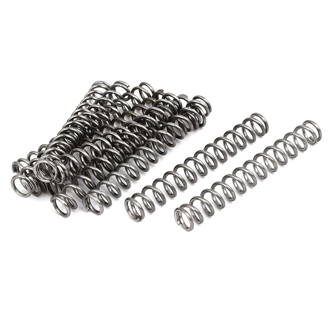 sourcingmap 1mmx7mmx50mm 304 Stainless Steel Compression Springs Silver Tone 10pcs a17020800ux1253