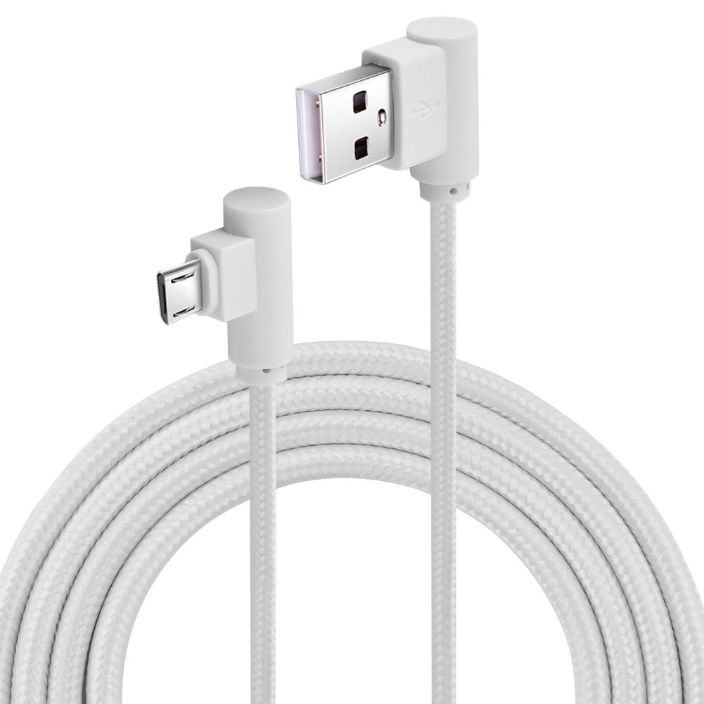 Zerone 2M/6FT Nylon Woven Braided 90 Degree Right Angle Micro-USB Cable Android Charger Cable/Samsung Fast Charging cable for Andriod(White)