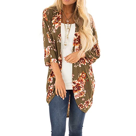 3580c50e1b9a Fashion Womens Clearance Cardigan Olive Green Printing Easy Smock Trendy  Tops at Amazon Women's Clothing store: