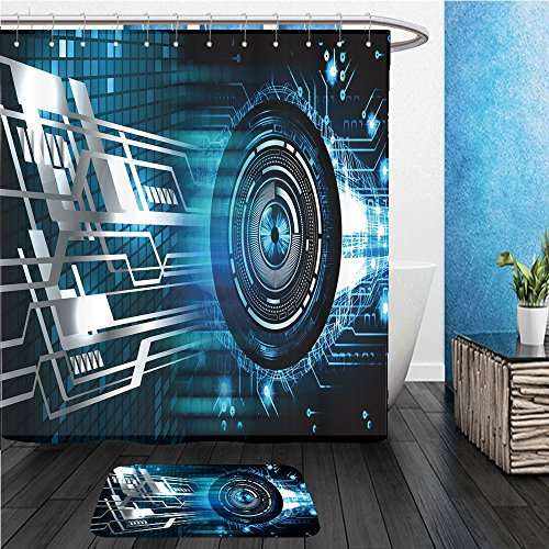 Beshowereb Bath Suit: ShowerCurtian & Doormat digital data background blue abstract light hi tech pixel internet technology cyber security 438085075