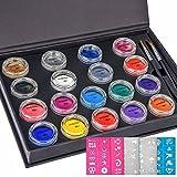 Face Paint,UnityStar 18 Colors+50 Stencils+2 Brushes,Face Painting Kit Face Body Paint Makeup Professional Palette 18X10 Gram Paints for Kids Parties Carnival Games