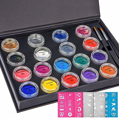 Face Painting Kit, UnityStar 18 Color Face Body Paint Professional Palette with 14 Paints & 4 Glitters, 2 Brushes & 50 Stencils for Kids Parties Carnival, FDA-Compliant, 18X10 Gram (Face Painting For Beginners Halloween)