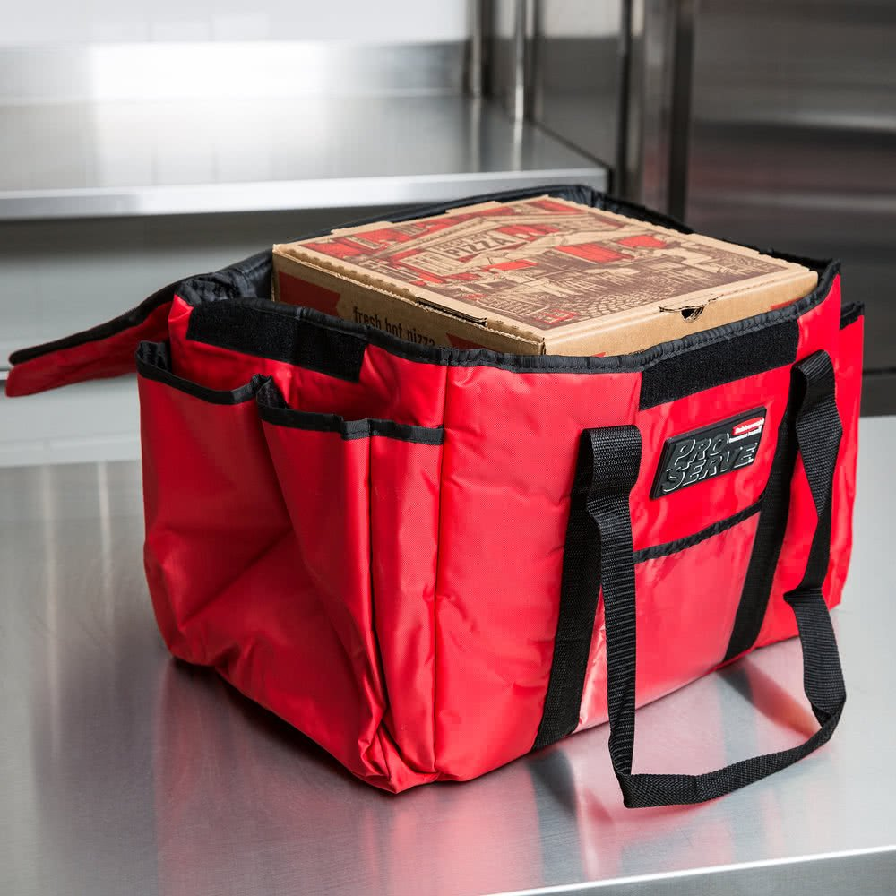 Rubbermaid FG9F4000RED ProServe 15'' x 12'' x 12'' Red Insulated Nylon Sandwich Delivery Bag