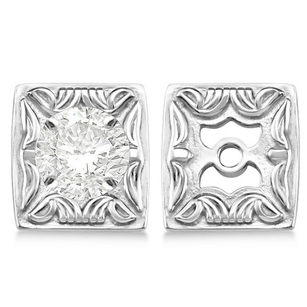Women's Antique Style Scrollwork Fashion Earring Jackets in Plain Metal 14k White Gold