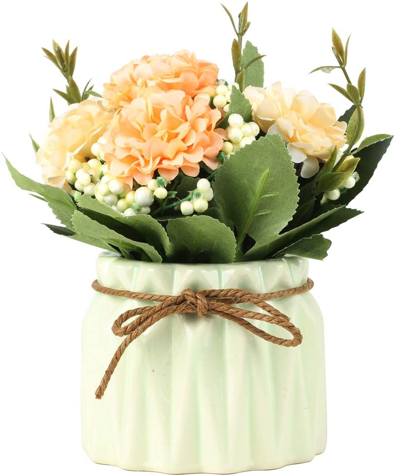 SUPNIU Artificial Hydrangea Bouquet with Small Ceramic Vase Fake Silk Variety Flower Balls Flowers Decoration for Table Home Party Office Wedding (Green)