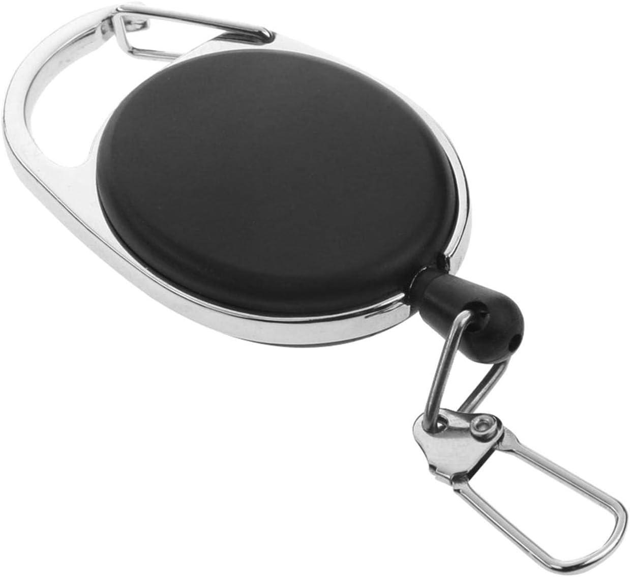 ZUNH2 Retrattile per Servizio Pesante Bobine per armeggiare Filo di tiro da 60 cm per Portachiavi Clip ID Carta Nera Badge per moschettone