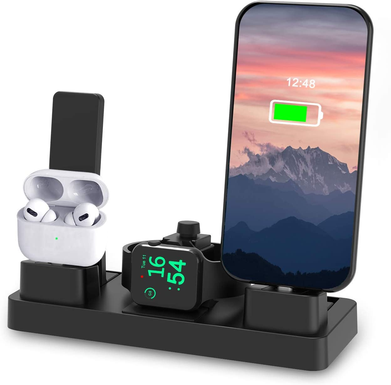 undassenk Charging Station for Apple Products 3 in 1 Charging Stand Compatible with Apple Watch 6/5/4/3/2/1/SE & iPhone 6~12 & Airpod Series Charging Dock