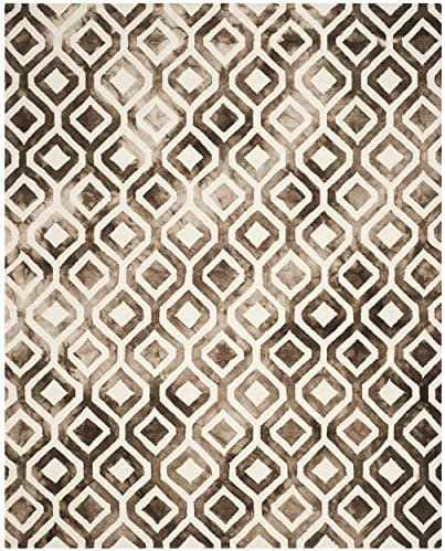 Safavieh Dip Dye Collection DDY679L Handmade Geometric Watercolor Ivory and Chocolate Wool Area Rug 9' x 12'