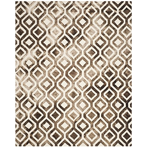 Safavieh Dip Dye Collection DDY679L Handmade Geometric Watercolor Ivory and Chocolate Wool Area Rug 9' x 12' ()