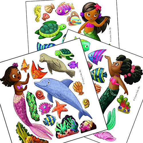 Cuties Like Me Black Mermaids Removable Vinyl Wall Decals Stickers Girls Bedroom Nursery Decor (Little Mermaid Sticker Sheets)