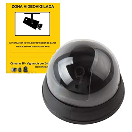 alarmaszoom Camara SIMULADA Seguridad IP Falsa Fake DE Imitacion con Pegatina Cartel Zona