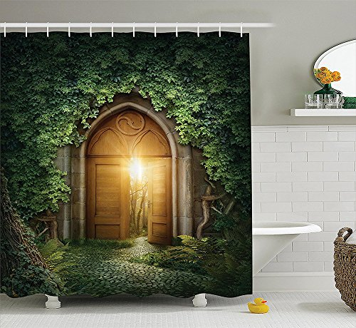 [Green and Brown Shower Curtain Fantasy House Decor by Sun Shining Through Mysterious Half Opened Wooden Entrance With Greenery Image Polyester Fabric Bathroom Extra] (Dr Gregory House Costume)