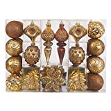 Valery Madelyn 50ct Woodland Shatterproof Christmas Ball Ornaments Decoration,8CM-19.5CM/3.15inch-7.68inch,50 Pcs Metal Hooks Included,Themed with Tree Skirt(Not Included)