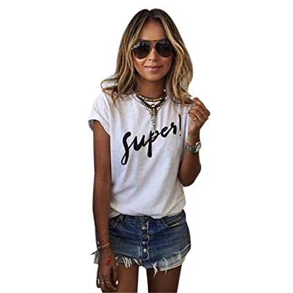 Susenstone 2016 Las mujeres verano carta de blusa de manga corta camiseta Casual blusas camiseta (