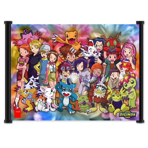 Digimon Season 2 Cartoon Group Fabric Wall Scroll Poster