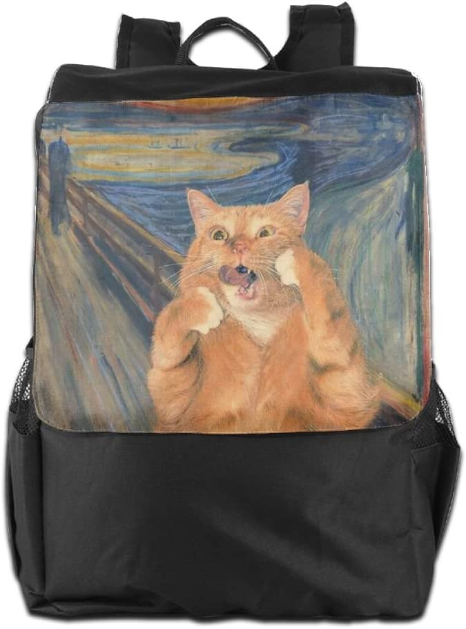 Coototo Screaming Cat Unisex High-capacity Canvas Travel Bag School Bag Backpack Shoulders Bag For Men Women Student Teen