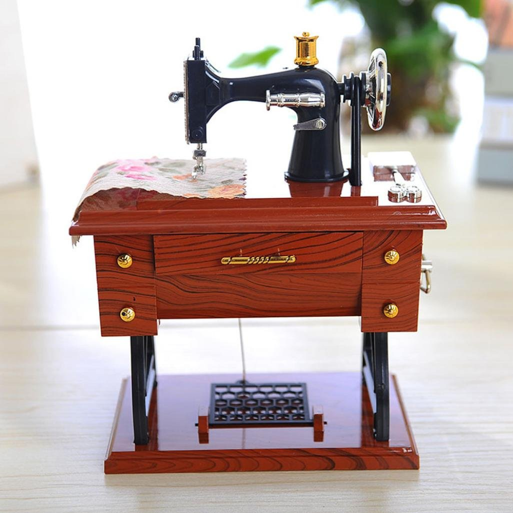 Sunward Music Box, Vintage Mini Sewing Machine Style Plastic Music Box Table Desk Decoration Toy Gift for Kid Children