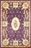 "KAS Oriental Rugs Ruby Collection Fleur-De-Lis Aubusson Area Rug, 30"" x 50"", Plum"