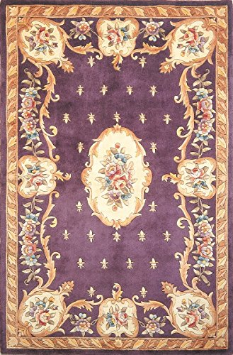 KAS Rugs RUB890333X53 Ruby Collection Fleur-De-Lis Aubusson Area Rug, 3-Feet 3-Inchx5-Feet 3-Inch, Plum