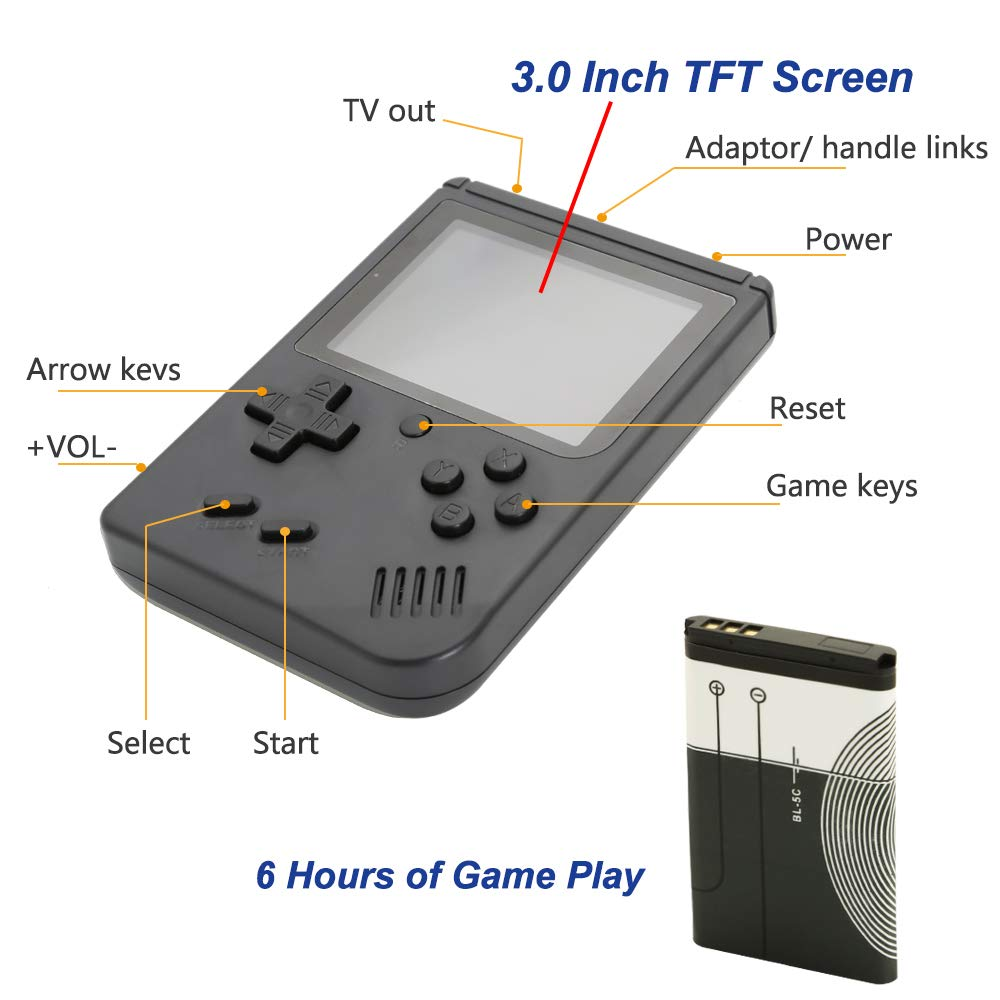AKTOUGST Retro Handheld Game Console FC System 168 Classic Game Portable Video Game 3 Inch 2 Player Plus Extra Joystick Game Console Support on TV,Presend for Kid Adult, (Black) by AKTOUGST (Image #4)