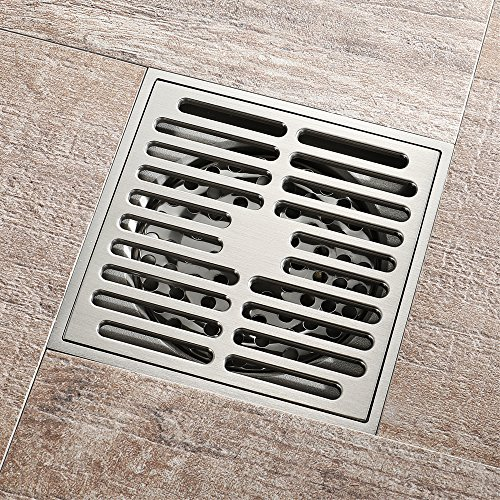 Square Shower Floor Drain Tile Insert 4-Inch Bathroom Copper Floor Drain Anti-Backwater Insect Prevention Deodorant Floor Drain Large Flow Drainage Floor Drain by YJZ (Image #3)