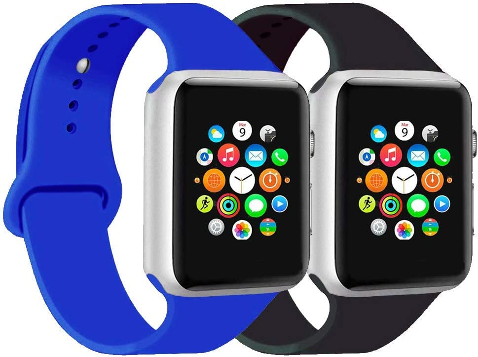 CoJerk Compatible for Apple Watch Band 38mm 40mm 42mm 44mm,Replacement Band for iWatch Series 5/4/3/2/1 (Black+Royal Blue, 38mm/40mm-ml)
