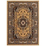 Persian-Inspired Area Rug by Home Dynamix | Premium Collection Sakarya Rug, Style on a Budget | Indoor Stylish Decorative Rug in Gold and Black | Traditional Medallion Style  7'8