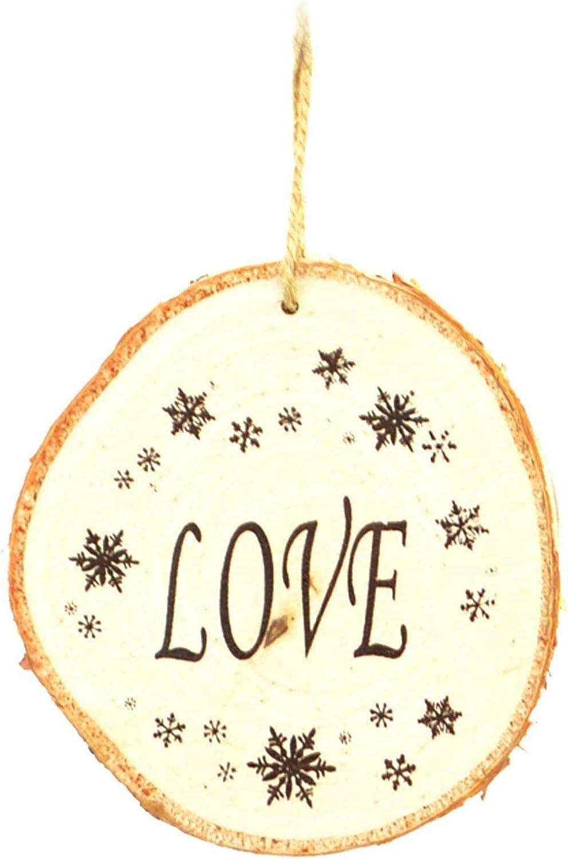 joie et paix Marron 10 cm Shatchi JLP Lot de 3 d/écorations en bois pour sapin de No/ël /à suspendre Motif amour de No/ël