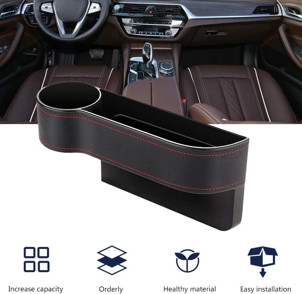 Yoruii Seat Gap Filler with Cup Holder Holding Phone LCLHOME Car Seat Gap Filler PU Leather Seat Console Organizer Pocket for Car Accessories Interior Car Seat Organizer Wallet Cup Holder