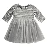 Youngland Baby Girls' Heart Print Knit to Tutu Mesh Dress, Grey/Silver, 3-6 Months