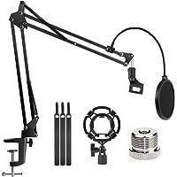 "Microphone Stand Adjustable Studio Mic Stand Suspension Boom Scissor Arm with 3/8""to 5/8"" Screw Adapter, Windscreen Pop…"