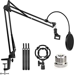 """Microphone Stand Adjustable Studio Mic Stand Suspension Boom Scissor Arm with 3/8""""to 5/8"""" Screw Adapter, Windscreen Pop Filter, for Snowball & Microphones Radio Broadcasting, Recording"""