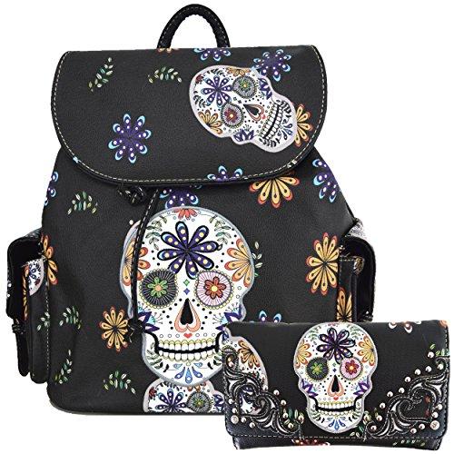 Western Sugar Skull Halloween Biker Purse Backpack Bookbag Girl Boy Shoulder Bag Wallet Set (Black) -