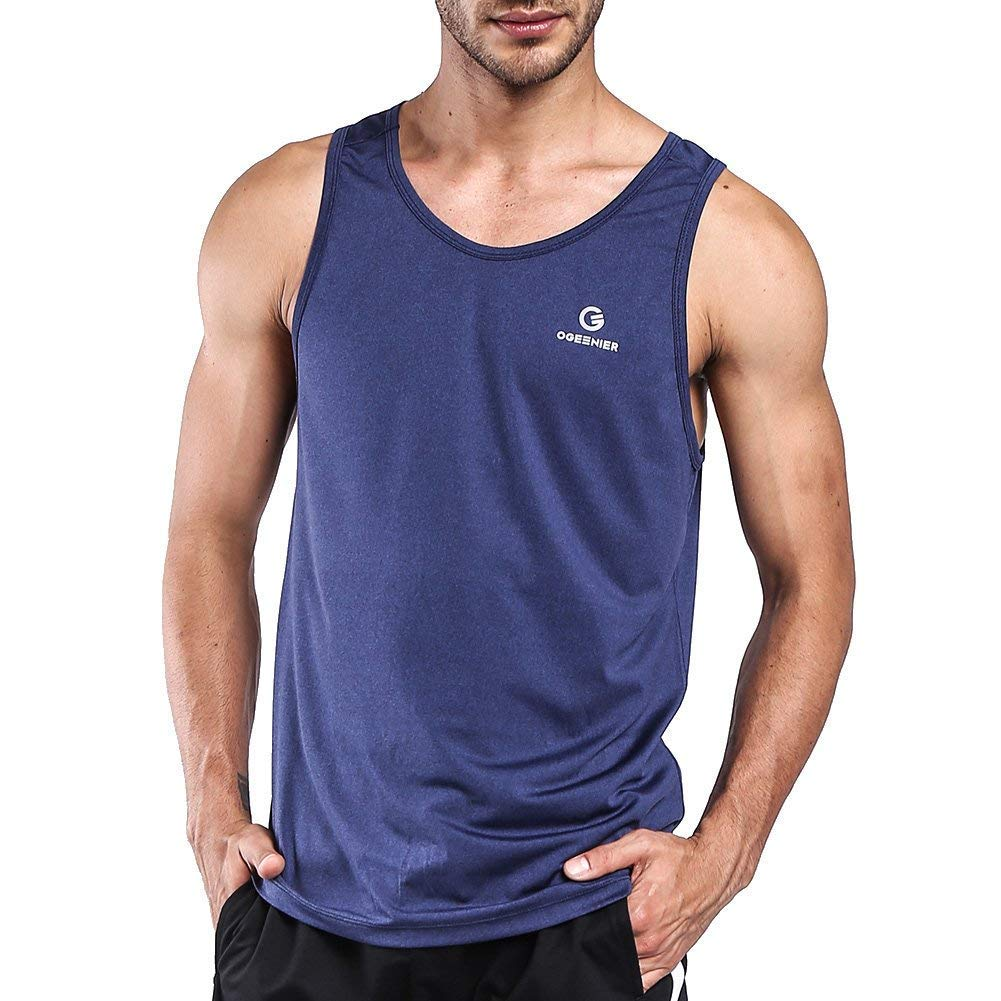 Ogeenier Men's Workout Quick Dry Sports Tank Top Shirt Athletics Training Gym Vest Fitness Bodybuilding Running Jogging