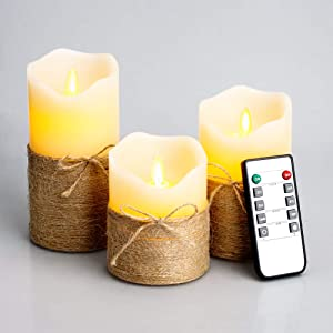 """Flickering Flameless Candles, 4"""" 5"""" 6"""", Set of 3 - Battery Operated Electric Pillar Candles with Timer and Remote Control, Real Wax LED Candles with Realistic Moving Wick Dancing Flame (Ivory White)"""