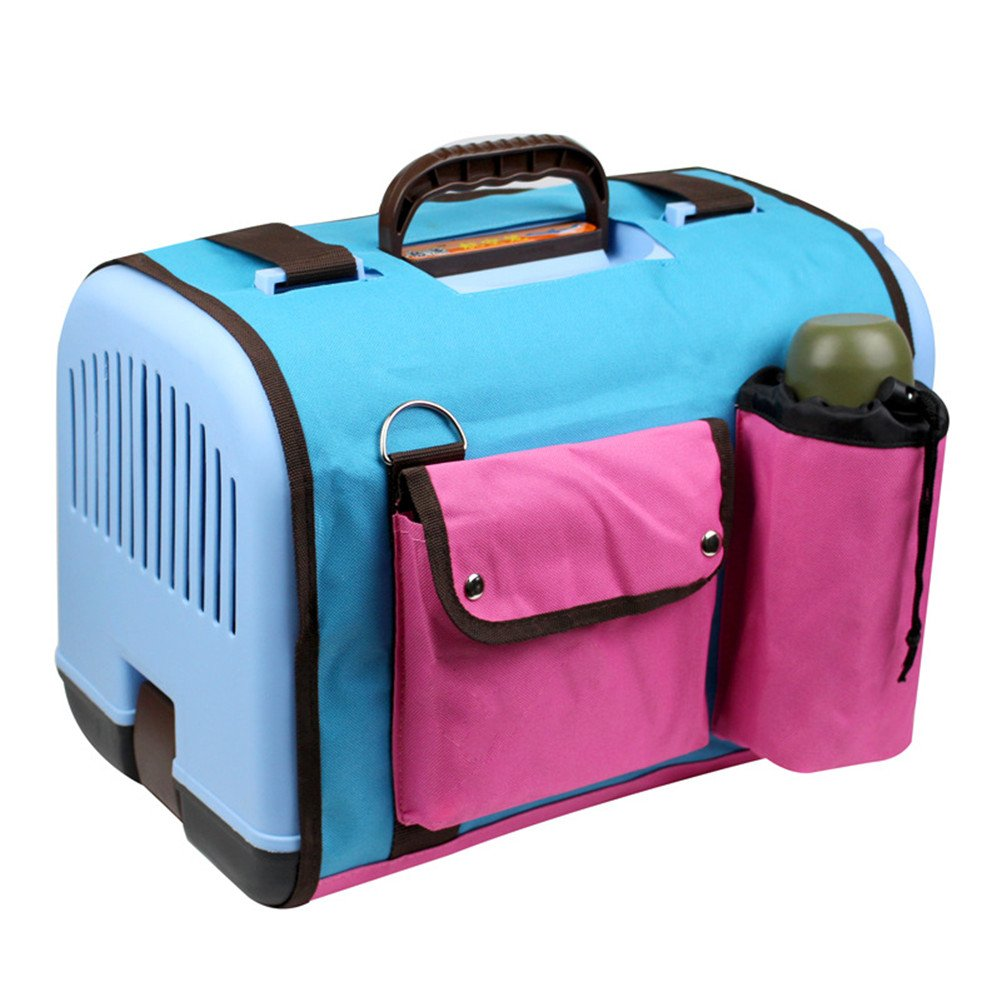 Happy Pet Dog Cat Rabbit Airline Approved Plastic Kennel Travel Carrier Car Travel Vet Visit Pet Carrier (Blue with cover)