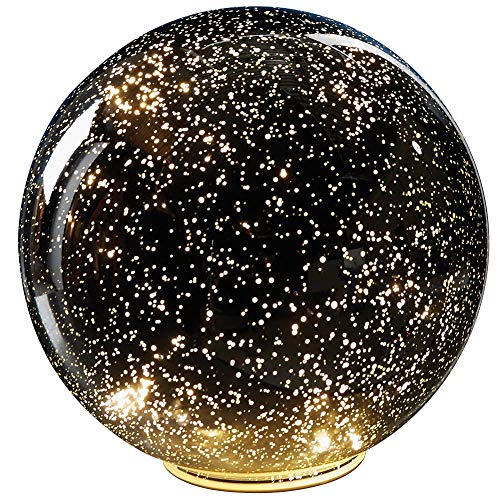- SIGNALS Lighted Mercury Glass Ball Sphere for Holiday Home Decor - Battery Operated - Silver - Large