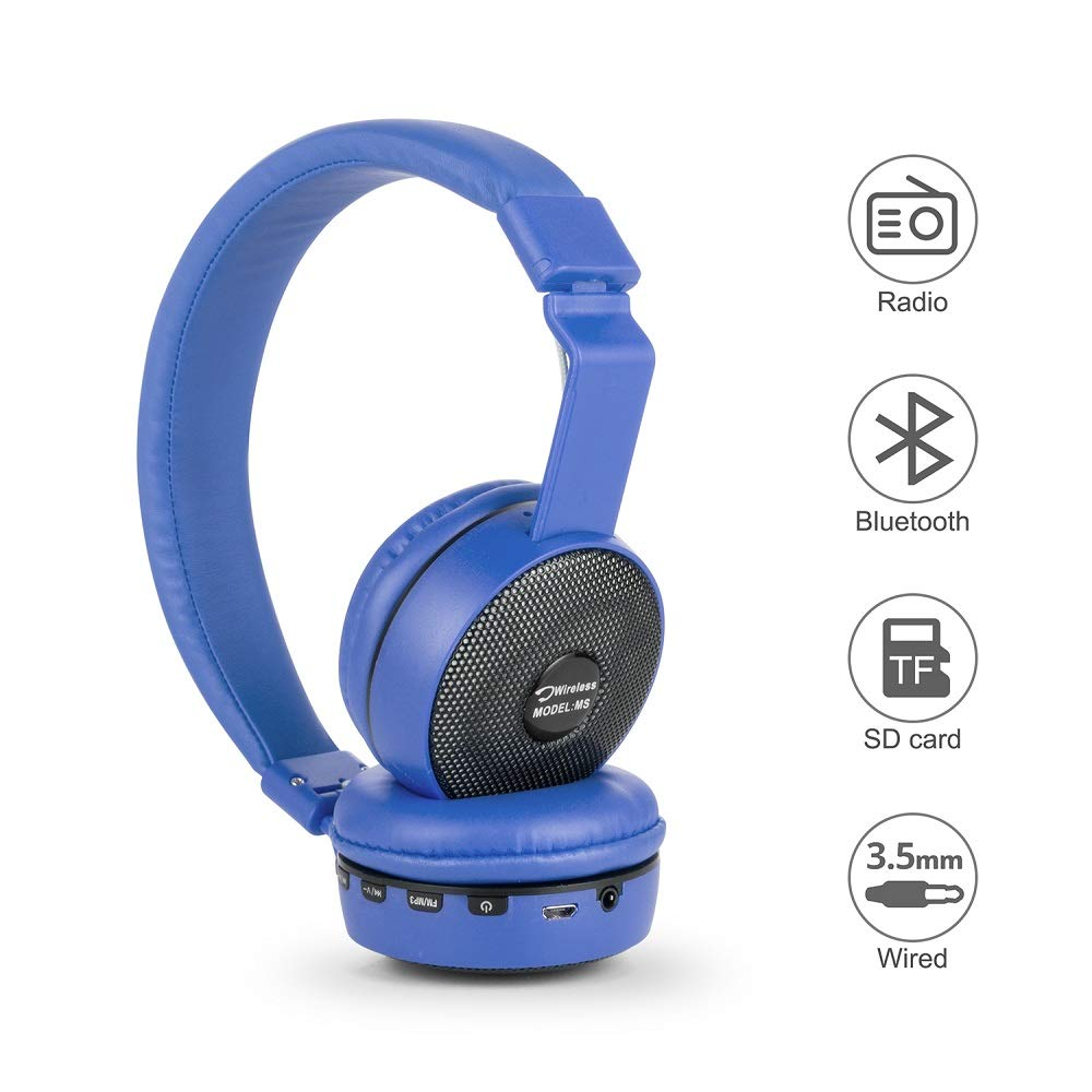 Granvela MS601 Hi Resolution Bluetooth Wireless MicroSD TF Card Mp3 Player FM Radio Headphones with 3.5mm AUX Cable-Black