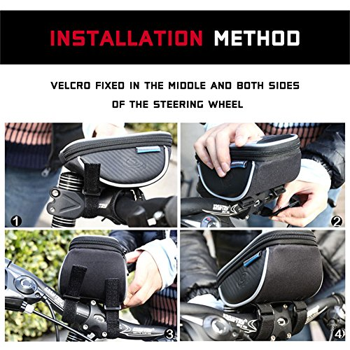Bicycle phone bag, Ubegood Waterproof Bike Phone Bag Bike Mount Holder Handlebar Bag for Cellphone Below or Equal to 5.5 Inch Fits iPhone 6s | 6s Plus, iPhone 7 | 7 Plus, Galaxy S7, S6, S5 Edge